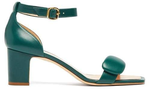 Melissa Pebble Leather Sandals - Womens - Dark Green