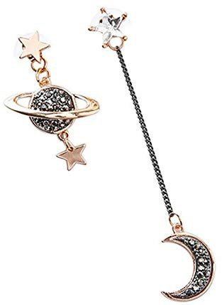 SODIAL New Design Asymmetric Earrings For Women Trendy Moon Star Planet Hot Christmas Gifts: Amazon.ca: Jewelry