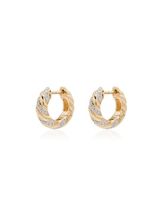 Yvonne Léon, 18kt Yellow Gold Diamond Huggie Hoop Earrings