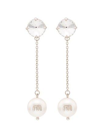 Miu Miu Crystal And Pearl Drop Earrings | Farfetch.com