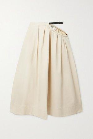 Cutout Belted Organic Cotton-blend Twill Midi Skirt - Cream