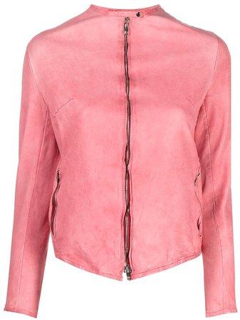 Salvatore Santoro zip-fastening collarless jacket pink 40026D - Farfetch