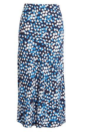 Halogen® Bias Cut A-Line Midi Skirt blue