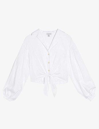 TOPSHOP - Tie-front cotton-poplin blouse | Selfridges.com