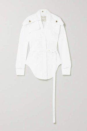 Belted Cotton-poplin Shirt - White