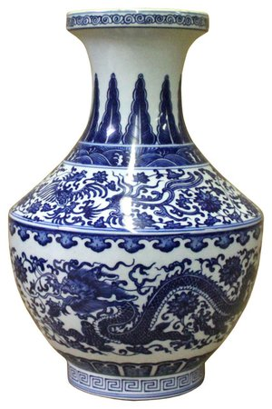 Handmade Chinese Blue White Porcelain Oriental Dragons Scenery Graphic Vase - Asian - Vases - by Golden Lotus Antiques