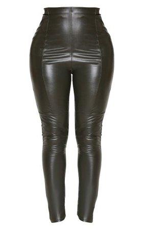 Shape Khaki Pu Panelled Trouser | Curve | PrettyLittleThing