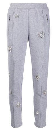 area embellished crop track trousers