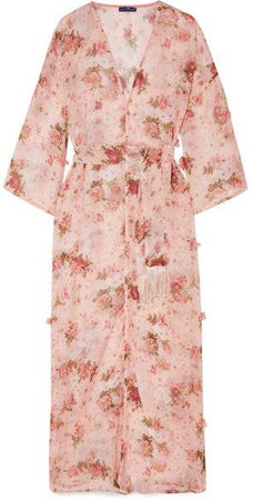 Elena Makri - Cemeli Appliquéd Floral-print Chiffon Robe - Baby pink