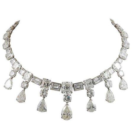 Important 1950s Diamond Platinum Festoon Necklace For Sale at 1stDibs