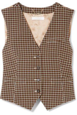 Chloé | Checked woven and satin-jacquard vest | NET-A-PORTER.COM