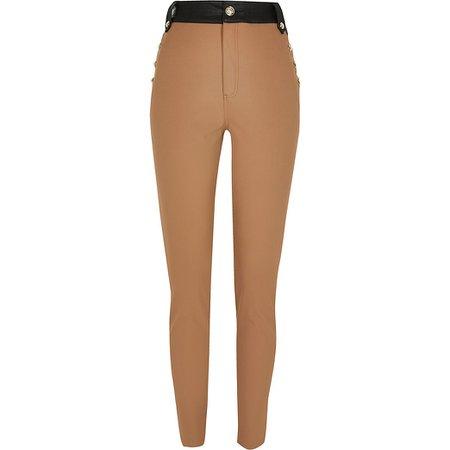 Beige ponte high waist button trousers | River Island