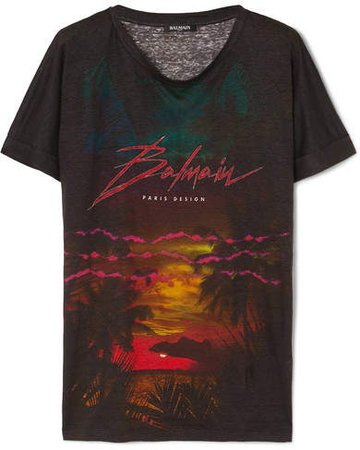 Printed Linen T-shirt - Black