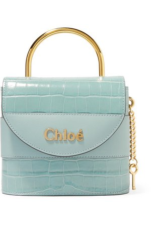 Chloé | Aby Lock small croc-effect leather shoulder bag | NET-A-PORTER.COM