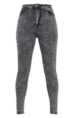 Acid Black Bum Shape Jeans | Denim | PrettyLittleThing USA