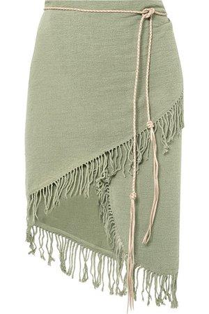 Caravana | Tuzuk leather-trimmed fringed cotton-gauze pareo | NET-A-PORTER.COM