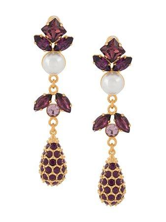 Erdem, Ameythst Crystal Drop Earrings