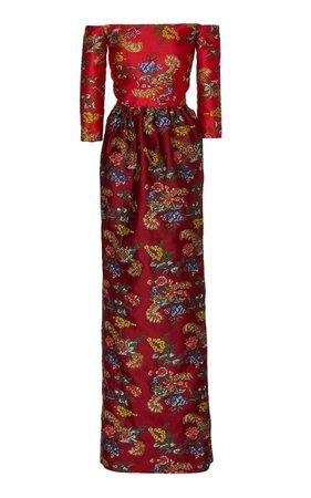Oscar de la Renta Off-The-Shoulder Jacquard Gown