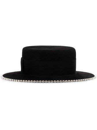 Black Ruslan Baginskiy crystal-embellished hat CNT033FDMD - Farfetch