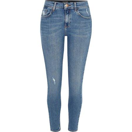 Blue Amelie super skinny jeans | River Island