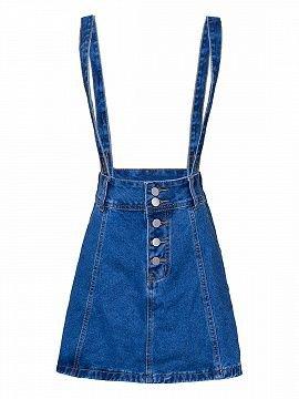 Dark Blue Button Front Denim Suspender A-line Skirt