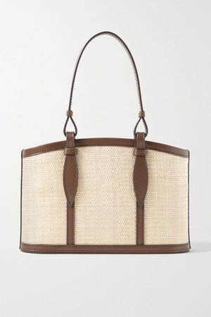 The Basket Small Leather-trimmed Woven Fique Tote - Beige