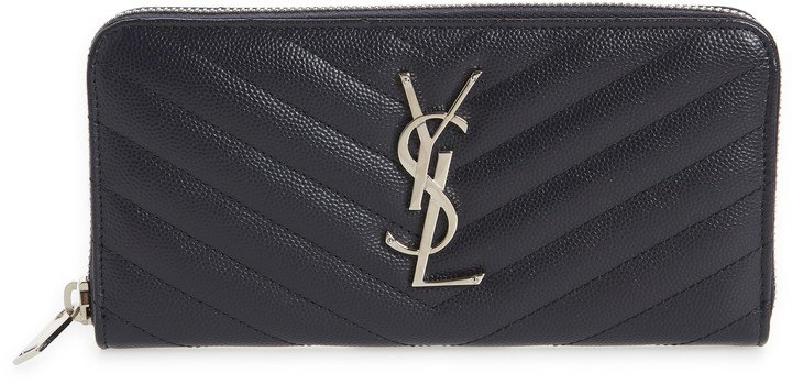 'Monogram' Zip Around Quilted Calfskin Leather Wallet