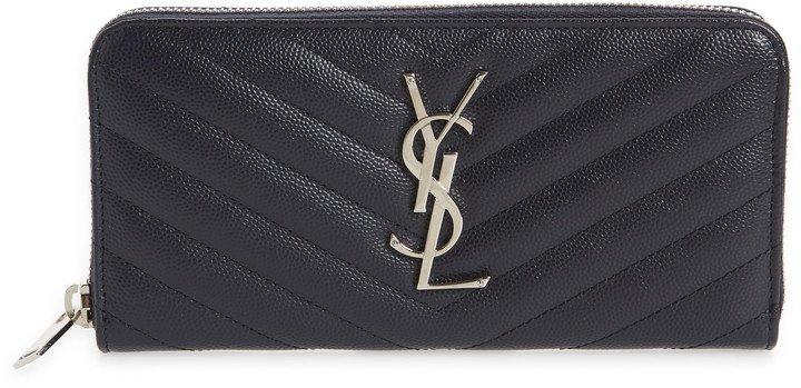 'Monogram' Zip Around Quilted Calfskin Leather Wallet