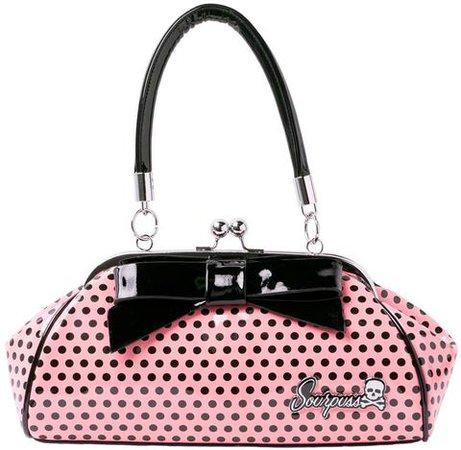 Sourpuss Floozy Kiss Lock Purse Pink Black Polka Dot with Bow – Rockattoo