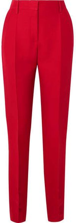 Silk And Wool-blend Slim-leg Pants - Red