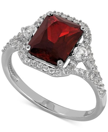 Macy's Lab-Created Ruby & White Sapphire Sterling Silver Ring