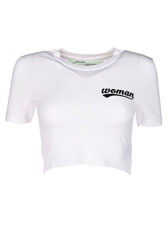 OFF-WHITE OFF-WHITE WOMAN SLOGAN CROP T-SHIRT.