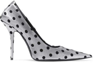 Square Knife Polka-dot Flocked Lamé Pumps - Silver