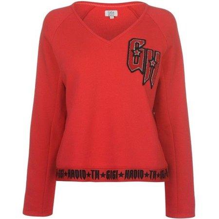 TOMMY X GIGI Gigi Hadid V Neck Sweatshirt