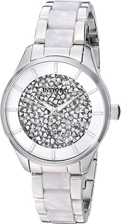 Invicta Women's Angel Quartz Watch with Stainless-Steel Strap, Silver, 15.8 (Model: 25246): Watches