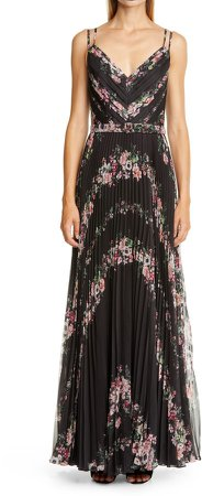 Belted Pleated Chiffon Gown
