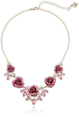 "Amazon.com: Betsey Johnson ""Glitter Rose"" Necklace: Gateway"