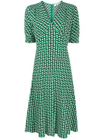 Shop green & black DVF Diane von Furstenberg Jemma Cinch-Sleeve Crepe Midi Dress with Express Delivery - Farfetch