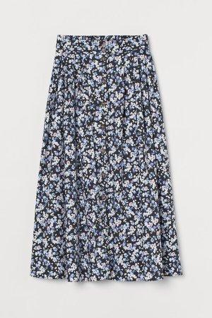 Button-front Cotton Skirt - Blue