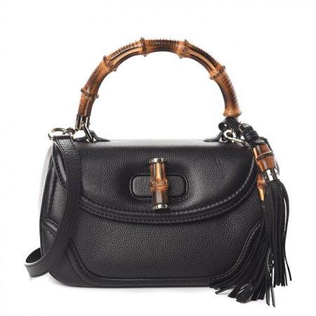 GUCCI Calfskin Medium New Bamboo Top Handle Bag Black 501141