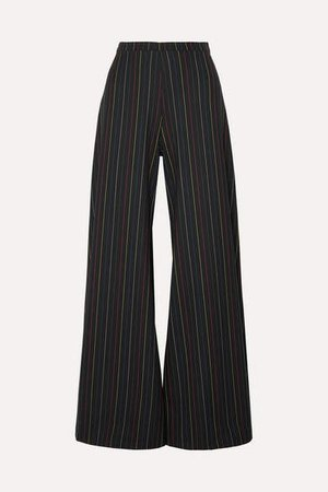 Dune Striped Crepe Wide-leg Pants - Black
