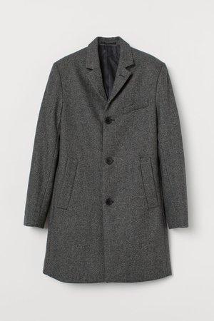 Wool-blend coat - Dark grey/Herringbone pattern - Men | H&M GB