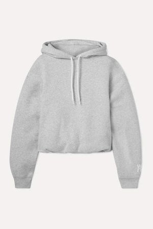 Stretch-cotton Jersey Hoodie - Light gray