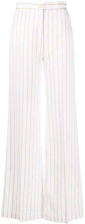 Stripe Print Wide-Leg Trousers