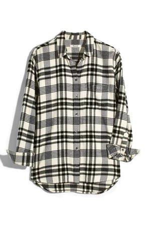 Madewell Flannel Ex-Boyfriend Plaid Shirt white