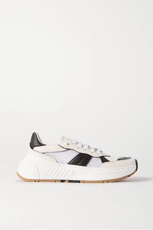 White Speedster leather and mesh sneakers | Bottega Veneta | NET-A-PORTER