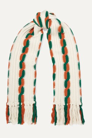 Ecru Fringed cable-knit wool scarf | Gucci | NET-A-PORTER