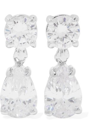 Kenneth Jay Lane | Silver-tone cubic zirconia earrings | NET-A-PORTER.COM