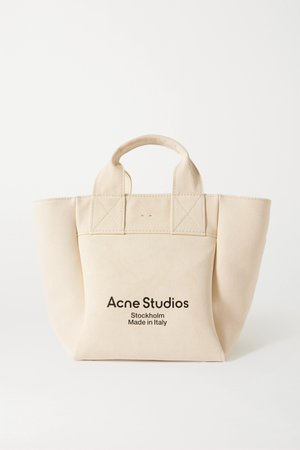 Beige Printed cotton-canvas tote | Acne Studios | NET-A-PORTER