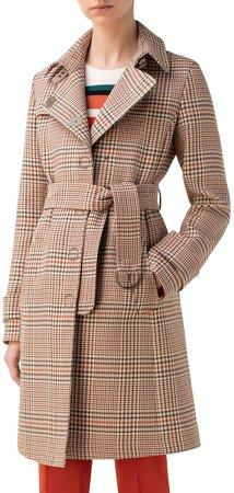Glen Plaid Gabardine Trench Coat